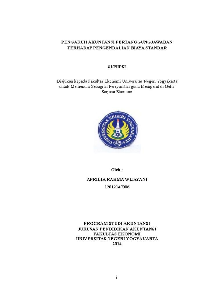 Skripsi Akuntansi Pertanggungjawaban Terhadap Biaya Standar