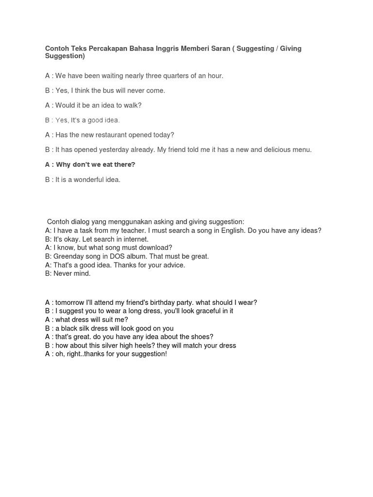 Contoh Dialog Bahasa Inggris Tentang Suggestion Barisan Contoh