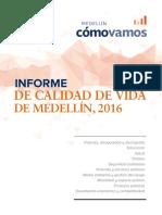 Informe Calidad de Vida de Medellin 2016