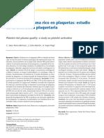 2007 Calidad Del Plasma Rico en Plaquetas - Estudio de La Activacion Plaquetaria