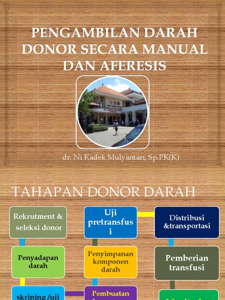 Pengambilan Darah Donor Secara Manual Dan Aferesis