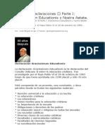 Tema 6 Declaraciones – Parte I  Gravissimum Educationis y Nostra Aetate