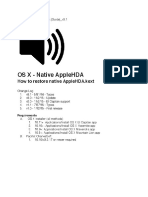 Restore native AppleHDA [Guide] pdf | Mac Os | Finder (Software)