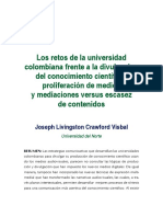 Los Retos de La Universidad Colombiana Frente a La Divulgacion Del Conocimiento Científico
