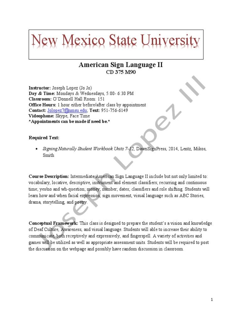nmsu asl ii syllabus-spring 2017 cdc 375 1   Academic Dishonesty ...