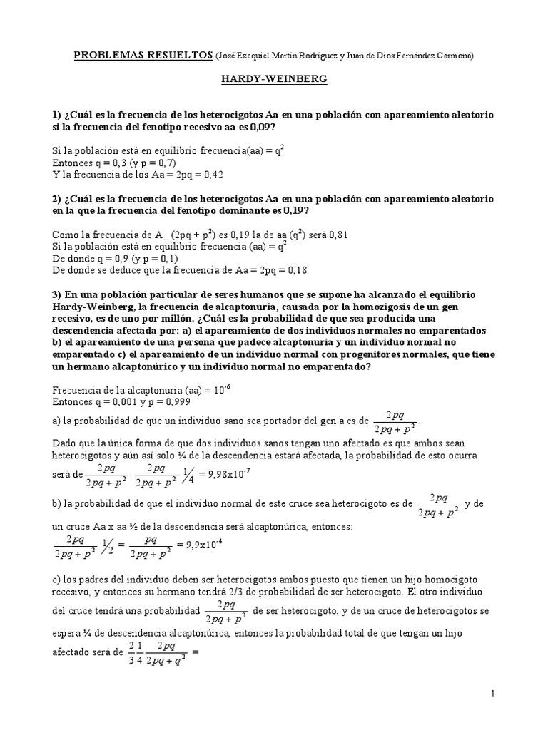 Increíble Hardy Weinberg Hoja Problemas Ideas - hoja de cálculo ...