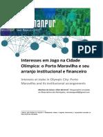 Interesses Em Jogo Na Cidade Olímpica. o Porto Maravilha e Seu Arranjo Institucional e Financeiro
