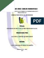 Informe de Practicas Pre Profesionales Edith Quispe Rios