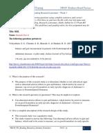 NR439 W5 Reading Research Literature Form Hannah Dorvil