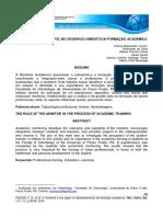 A Monitoria e Seu Papel No Desenvolvimento Na Formação Academica