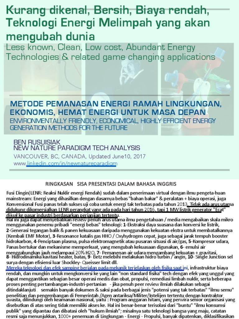 Kurang Dikenal, Bersih, Biaya Rendah, Teknologi Energi Berkelimpahan