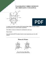 Planos Cristalografos y Direcciones en La Estructura Cristalina y Hexagonal