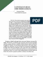 La negatividad en Hegel y la Kehre heideggeriana