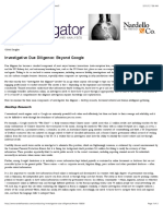 Conducting Investigative Due Diligence - What's Involved