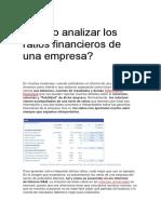 Cómo Analizar Los Ratios Financieros de Una Empresa