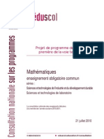 Premiere Techno Projet Prog 2010 Maths-STI2D-STL 150050