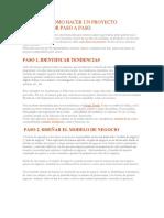 Guía Para Como Hacer Un Proyecto Emprendedor Paso a Paso