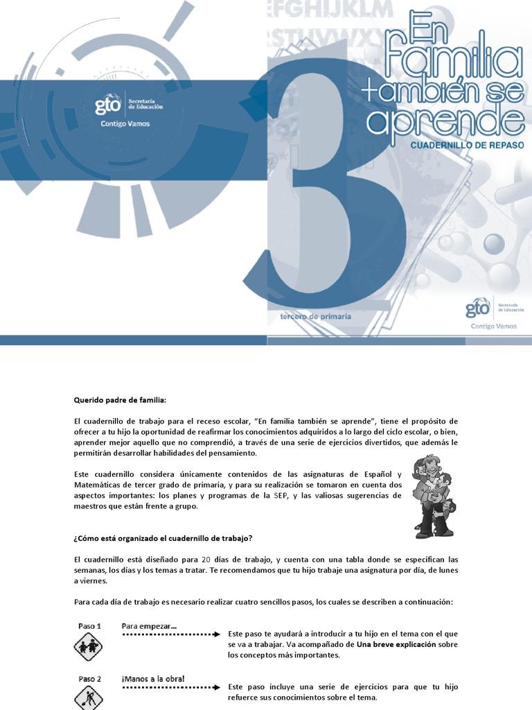 Español y Matemáticas. Cuadernillo de Trabajo. Tercer Grado