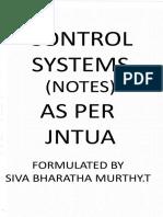 Control Systems (Cs) Notes as Per Jntua