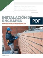 41.- Instalación de enchapes, recomendaciones