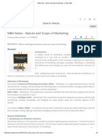 MBA Notes - Nature and Scope of Marketing - e Notes MBA