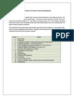 Format for Summer Internship Reports