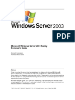 Windows 2003 - Reviewersguide