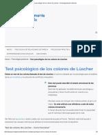 Test Psicológico de Los Colores de Lüscher - Psicológicamente Hablando