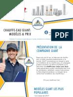 3 Prix pour Chauffe-eau Giant - Soumissions Chauffe-eau