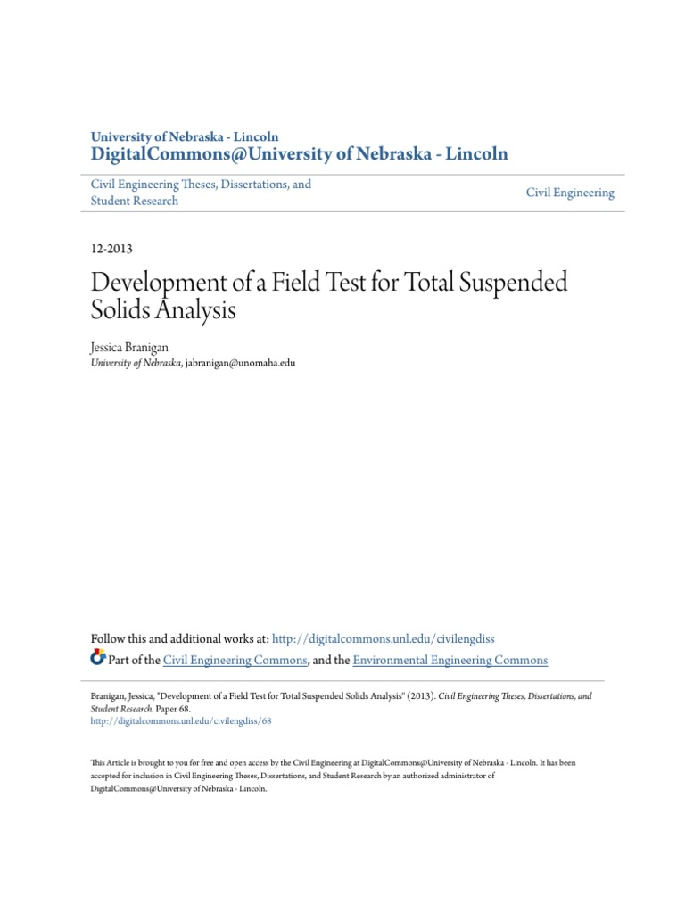 Development Of A Field Test For Total Suspended Solids Analysis Fm 5424 Theater Operations Electrical Systems Conduit Wiring Filtration Thesis