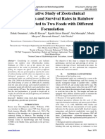 Comparative Study of Zootechnical Performances and Survival Rates in Rainbow Trout Subjected to Two Foods with Different Formulation