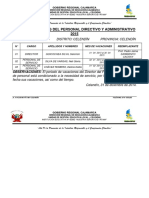 Rol de Vacaciones Del Personal Directivo y Administrativo 2015