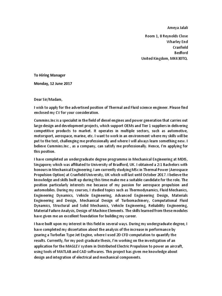 Cover Letter Cummins | Engineering | Mechanical Engineering