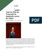 E. Lander, Venezuela y La Izquierda Acrítica