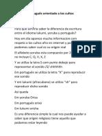 Taller de Português Orientado a Los Cultos Afrobrasileros