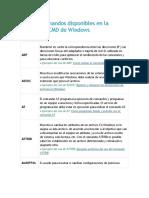 Lista de Comandos Disponibles en La Consola de CMD de Windows