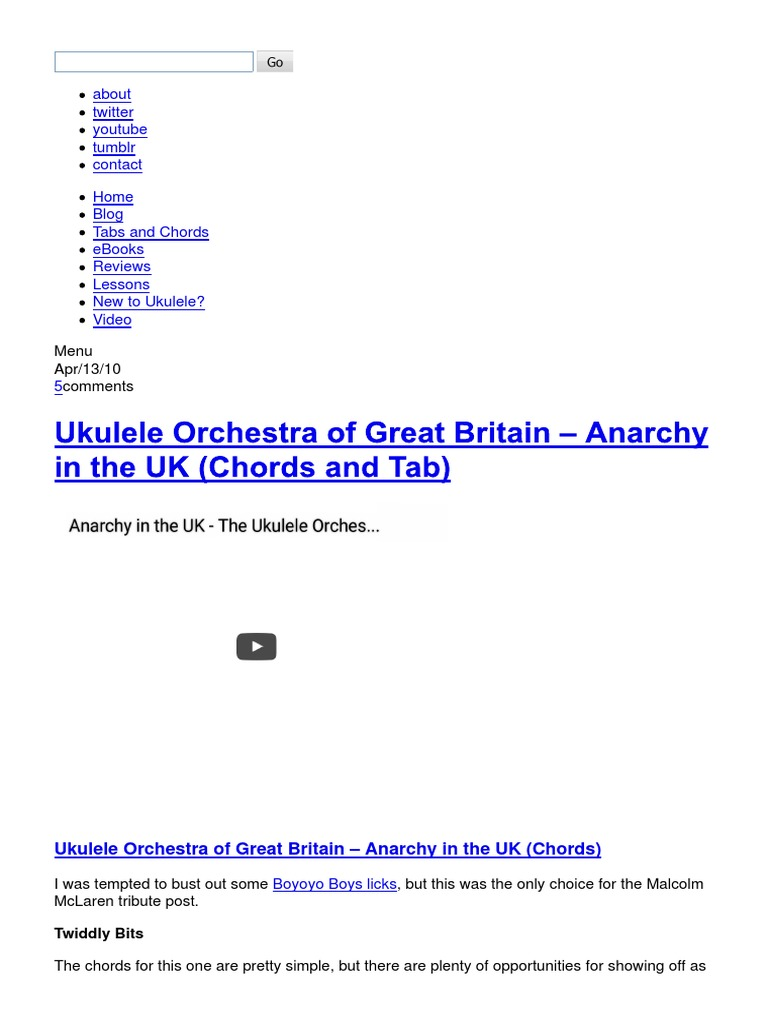 Ukulele Orchestra of Great Britain – Anarchy in the UK (Chords and ...