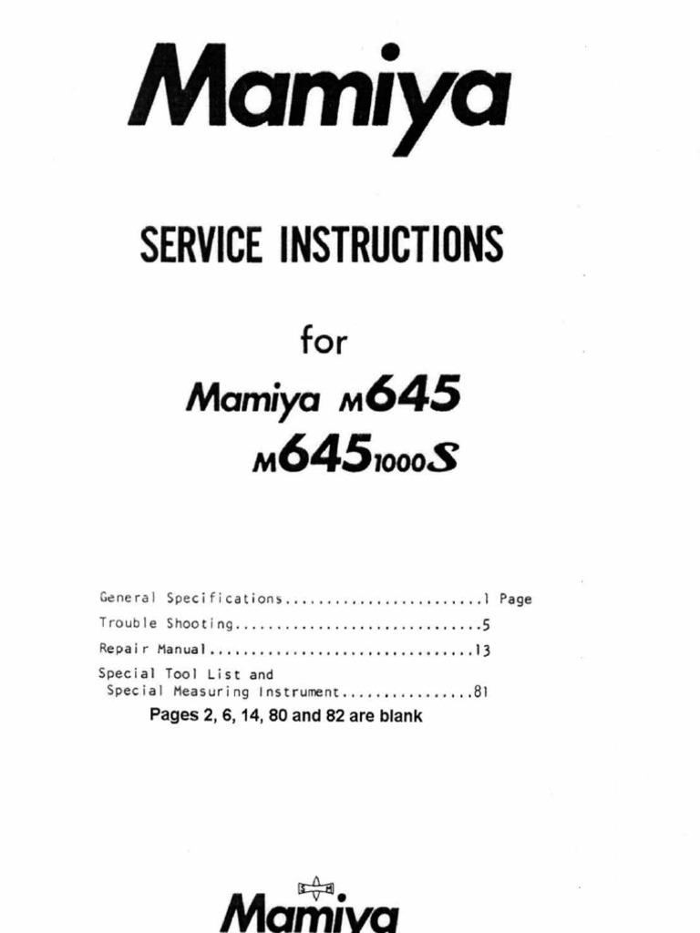 Mamiya M645 Service Manual
