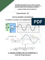 Experimento Osciladores Senoidais - OPAMP - UFCG PROFESSOR GUTEMBERG LIRA