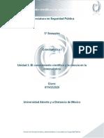 Unidad 2. El Conocimiento Cientifico y La Ciencia en La Criminalistica