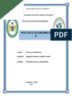 Trabajo de Politica Economica (Analisis de la politica fiscal y monetaria del Perú)