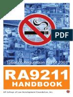 83123003 Ra 9211 Handbook Tobacco Regulation Act 2003