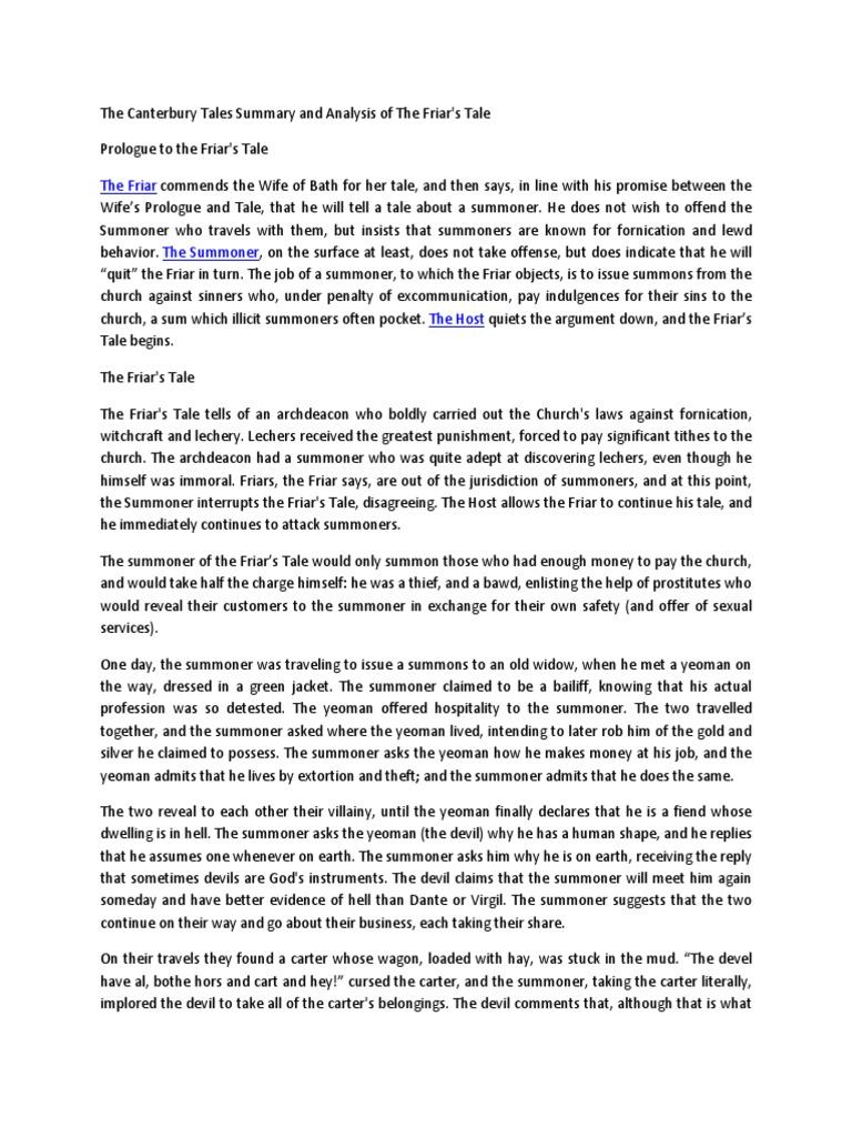 canterbury tales summary