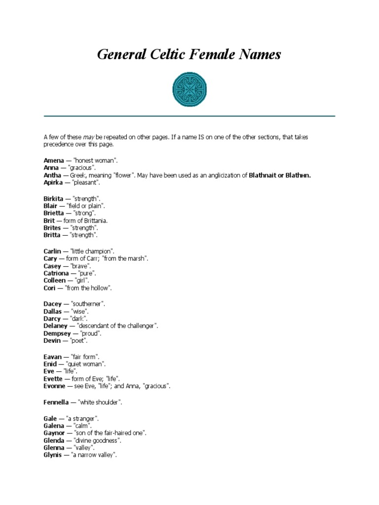 General Celtic Female Names