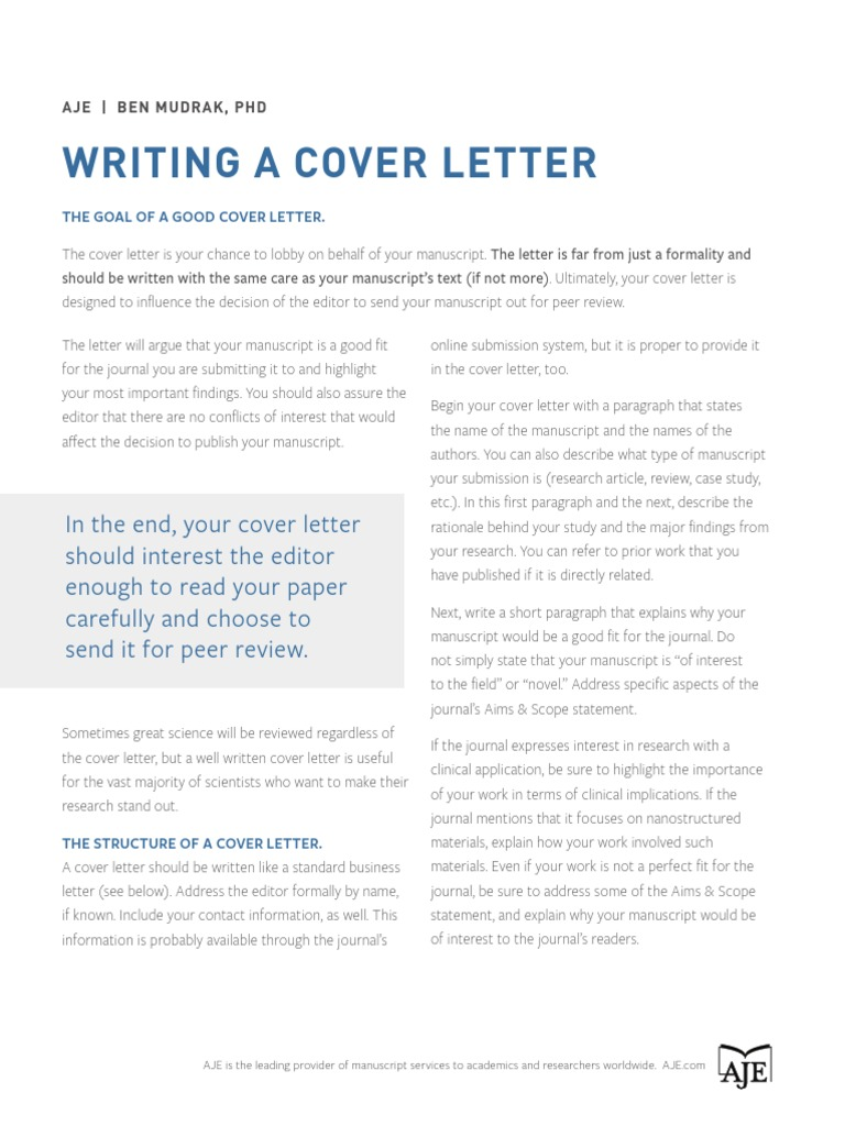 Cover Letter Academic Publishing Science
