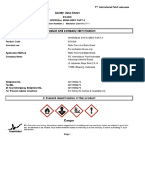 MSDS Interseal 670HS Grey Part A | Toxicity | Solvent
