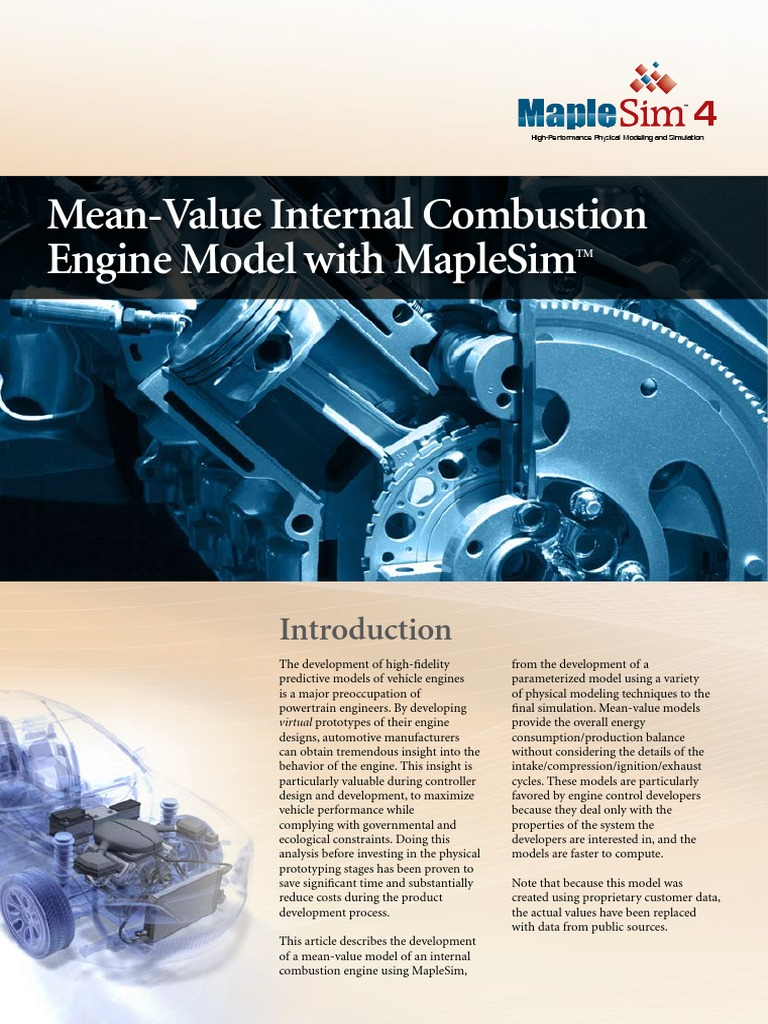 Maplesim Mean Valu Internal Combustion Engine Throttle Blocks To Define The Fuel Flow Properties Of Powersubsystem
