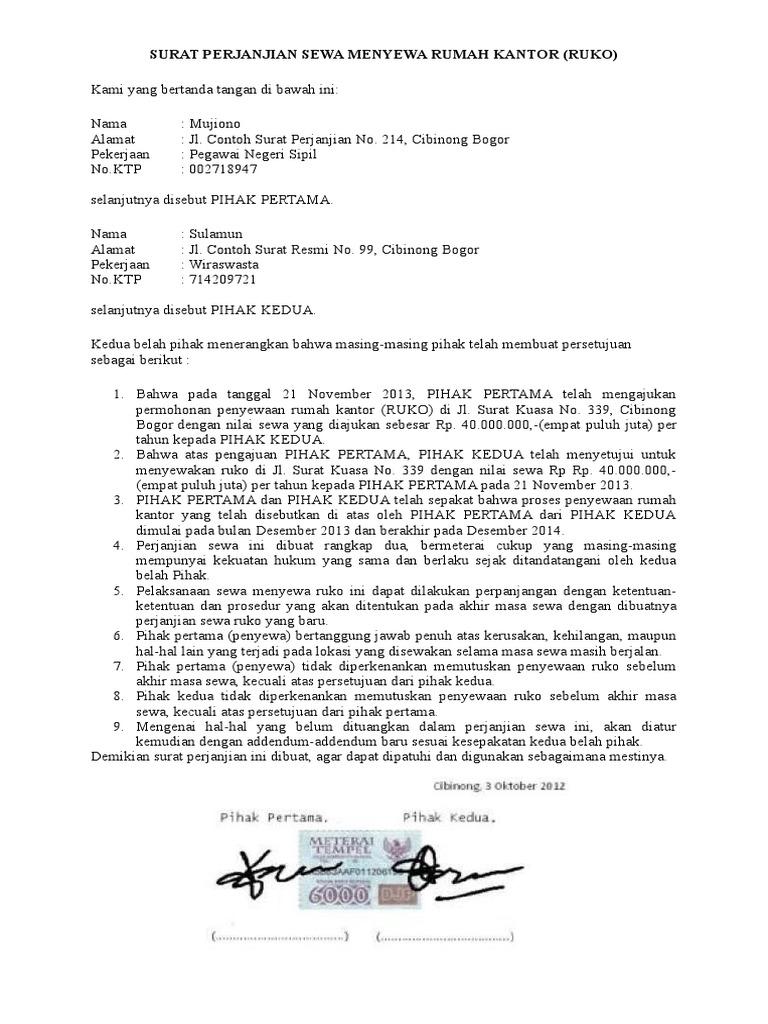 Surat Perjanjian Sewa Menyewa Rumah Kantordocx