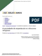 A Sociedade Do Espetáculo e o Discurso Religioso _ Luiz Carlos Ramos