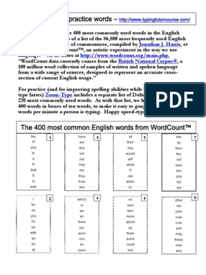 400 Most Common Words Typing List | English Language | Mind